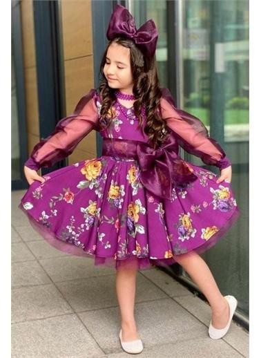 Riccotarz Kız Çocuk Purple Flowers Tütülü Elbise Mürdüm